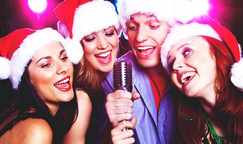 Christmas Karaoke with Santa Hats