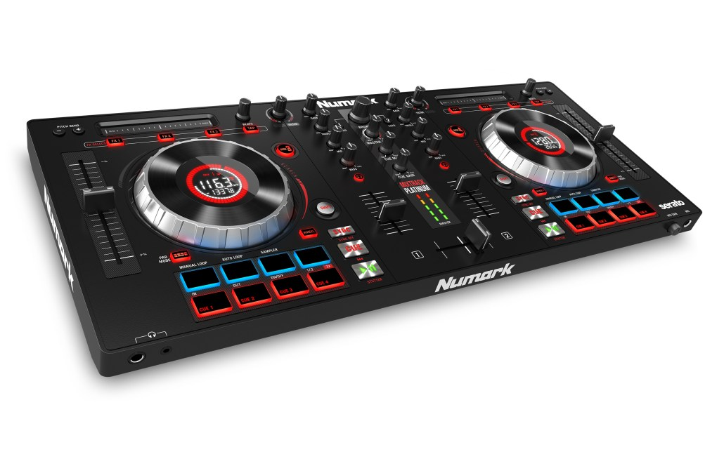Numark mixtrack platinum DJ controller angled
