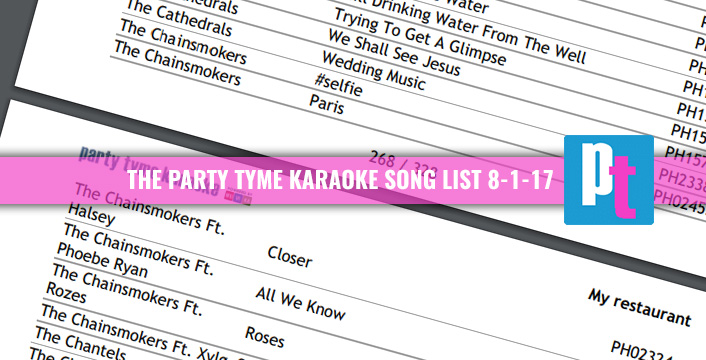 Party Tyme Karaoke Subscription | View The Current Song Book