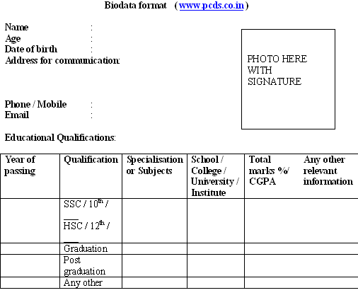 biodata format download for new resume sample freshers job