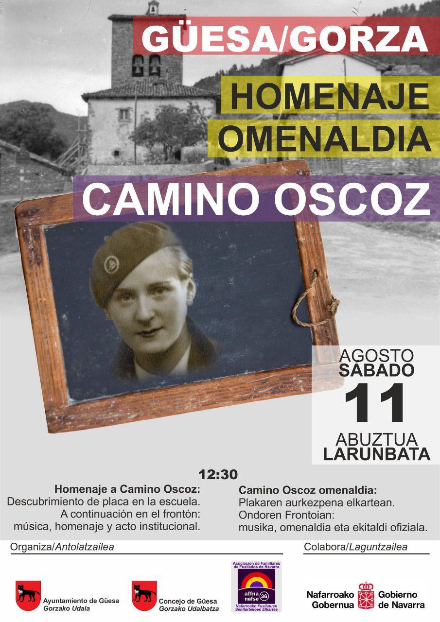 Homenaje a Camino Oscoz, maestra y militante del PCE asesinada por los fascistas el 10 de Agosto de 1936.