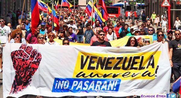 MOVILIZACIONES FRENTE A LA INJERENCIA IMPERIALISTA #VENEZUELAAURRERA  ESKU-HARTZE INPERIALISTAREN AURREAN