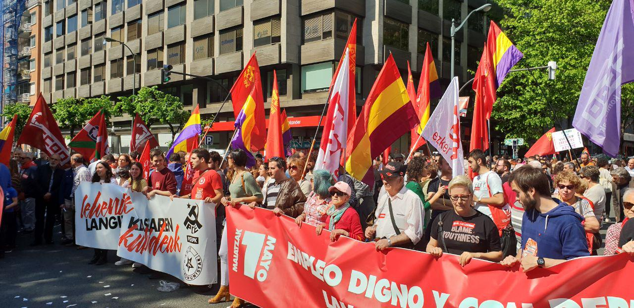 El Partido Comunista de Euskadi-EPK se moviliza en el 1 de Mayo y exige contundencia para revertir las políticas de precariedad y explotación laboral instaladas en nuestro país.