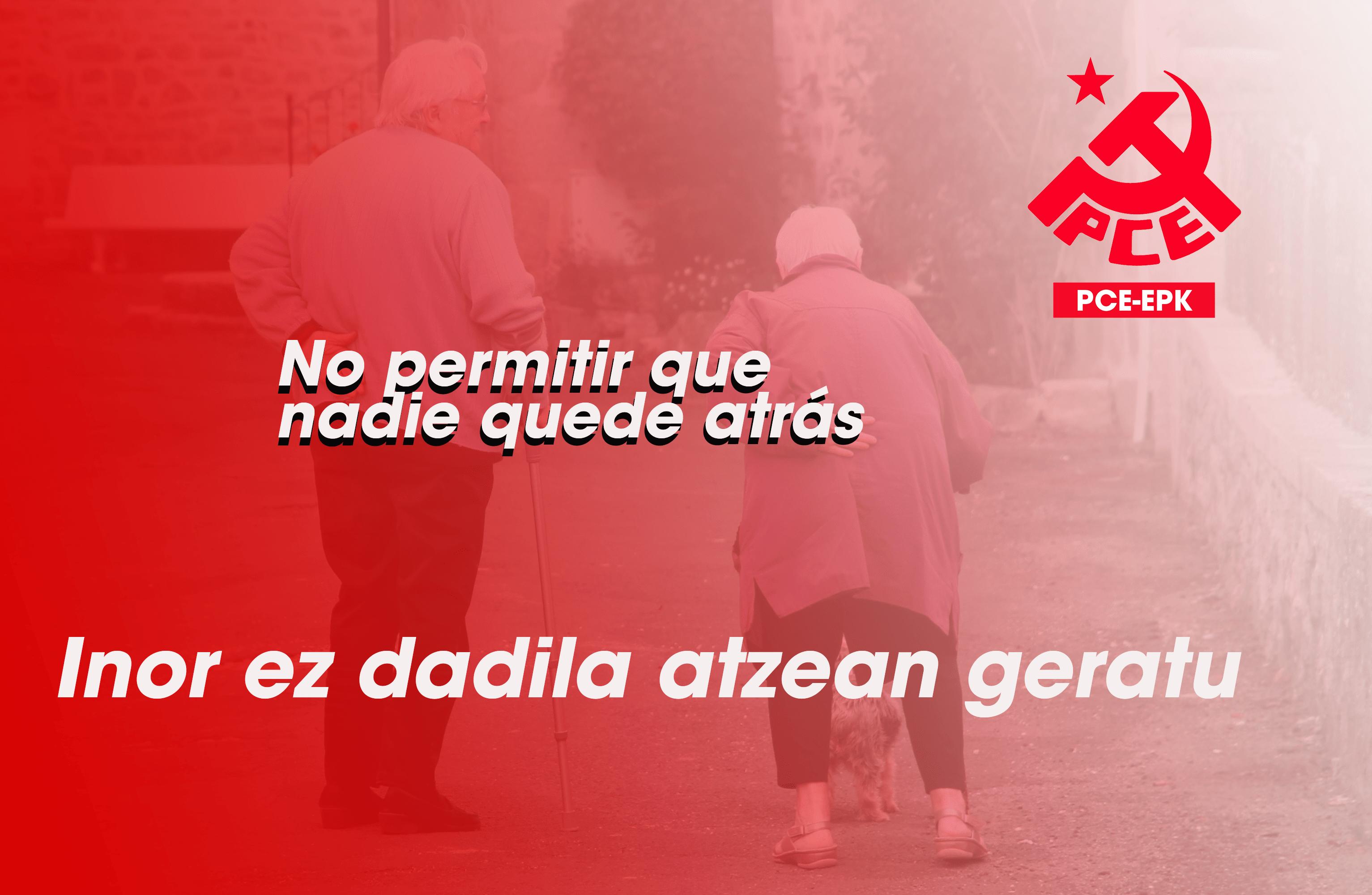 El Partido Comunista de Euskadi-EPK pide a los Gobiernos Vasco y Navarro que pongan en marcha un plan especial para atender las necesidades de cuidados en el actual estado de Alarma.