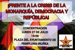 El PCE-EPK muestra su rechazo a la visita a Navarra de Felipe y Letizia, y hace un llamamiento a la participación en la concentración republicana convocada por la Junta Republicana de Izquierdas de Navarra.