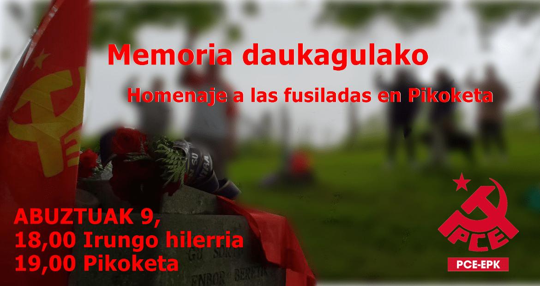 El PCE-EPK recordará a las camaradas fusiladas en 1936 en Pikoketa.