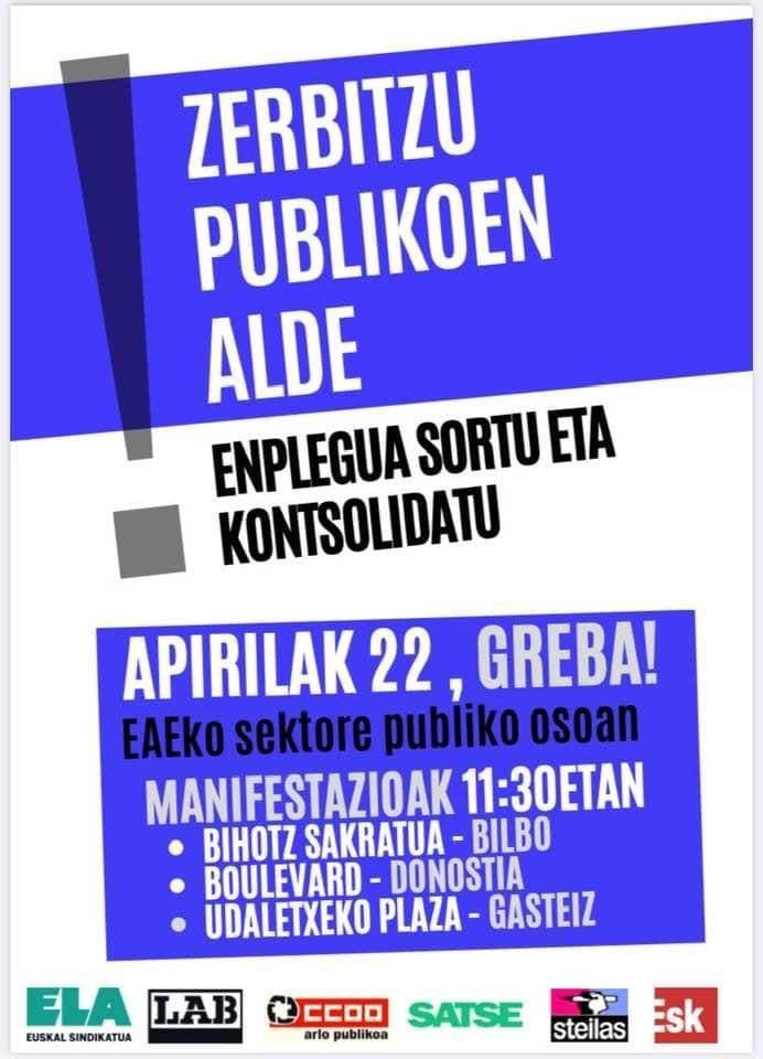PCE-EPK-k sektore publikoaren greba orokorra babesten du gero eta prekarizatuago dauden enplegu eta zerbitzu publikoen aurrean.