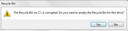delete C:/ Recycle Bin is Corrupt Error