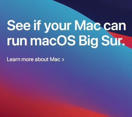 Which Mac's can run macOS Big Sur?