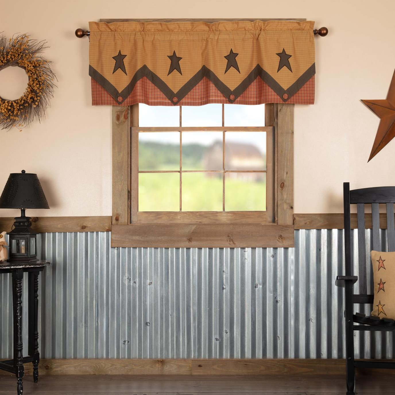 Stratton Primitive Star Valance Layered 20x60 By Mayflower