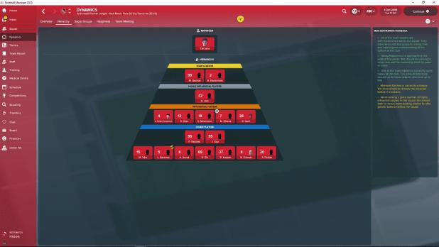 מסך ההיררכיה החדש ב-Football Manager 2018 שנותן לך עוד קצת מידע על השחקנים בקבוצה שלך