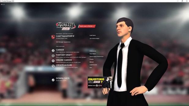 התפריט הראשי היישר ממשחק ה - Football Manager 2018