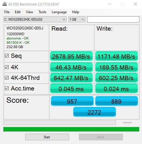 בדיקת AS SSD SN750