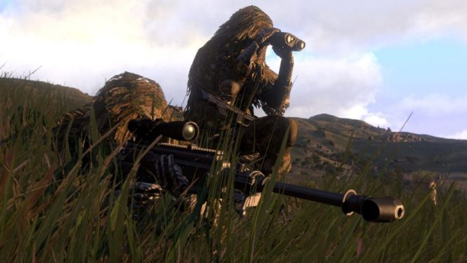 Two snipers in the long grass search for targets in Arma 3, one of the best sniper games