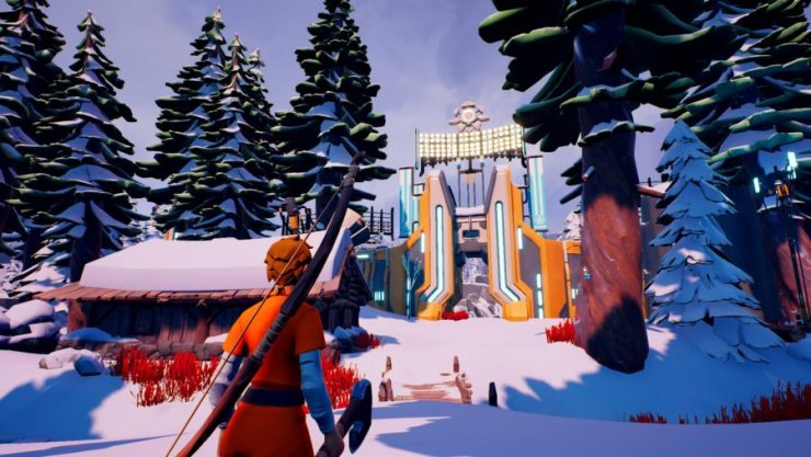 A player approaches a gate in the wintry setting of one of the best battle royale games, The Darwin Project