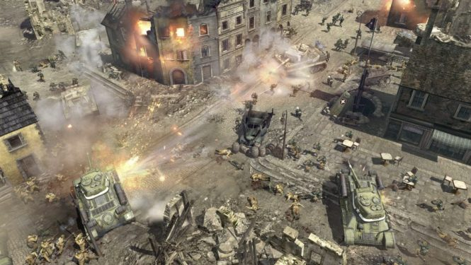 A city street is devastated by a tank battle in Company of Heroes 2, one of the best tank games