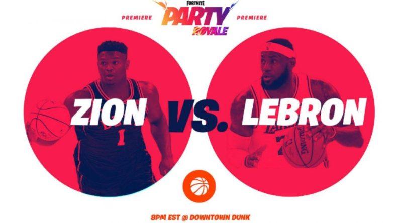 Póster de Fortnite party royale con Zion y LeBron James