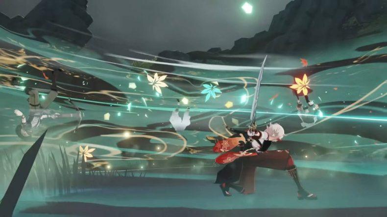 Kazuha está atacando a múltiples enemigos con un ataque reforzado por una construcción de maestría elemental.