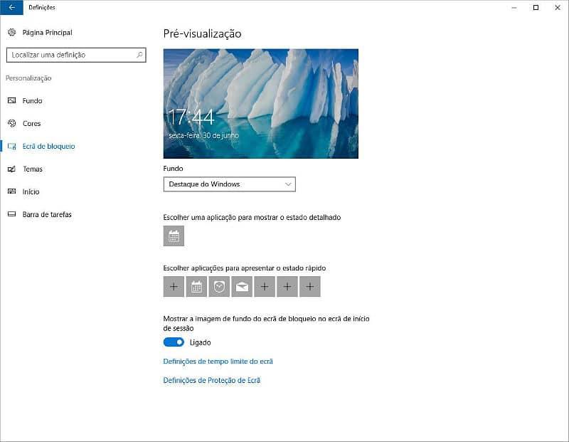 Publicidade ecrã de bloqueio - Windows 10