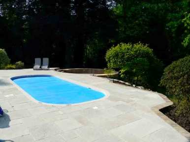 Poolside paving in Fleet