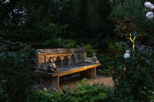 reclaimed vintage stone garden bench in Surrey garden