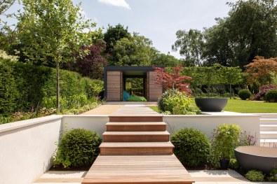 Bespoke contemporary timber steps leading to renson garden building