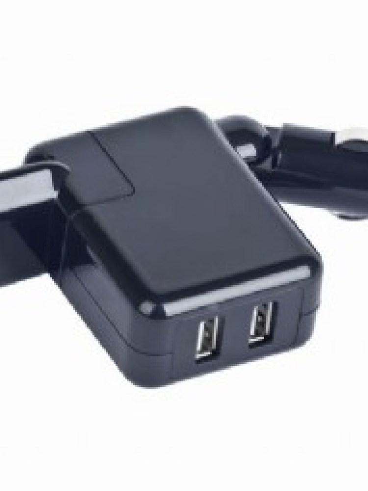 Alimentator auto+priza universal 2xUSB, tensiune iesire: 5V DC cu max.2A, compatibil cu dispozitivele alimentate prin USB, Negru lucios, GEMBIRD (MP3A-UC-ACCAR2)