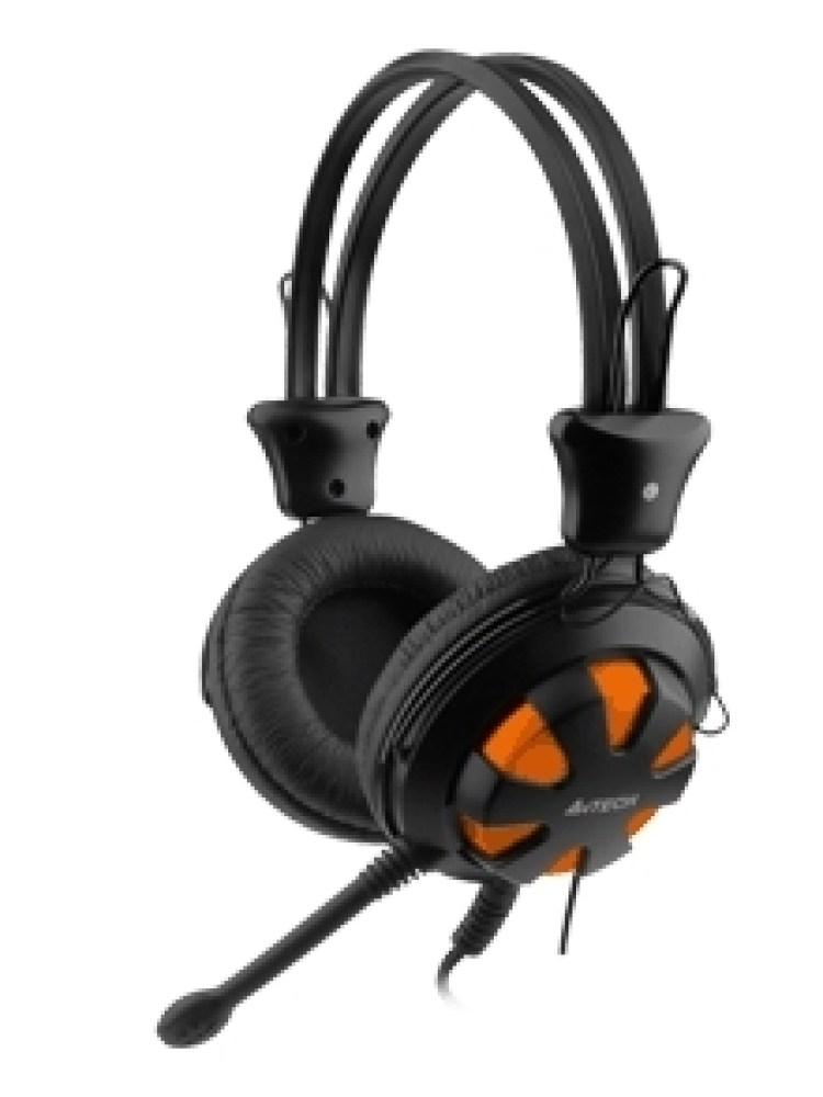 Casti A4TECH  Comfortfit, microfon pe fir, control volum pe casca, orange 'HS-28-3'