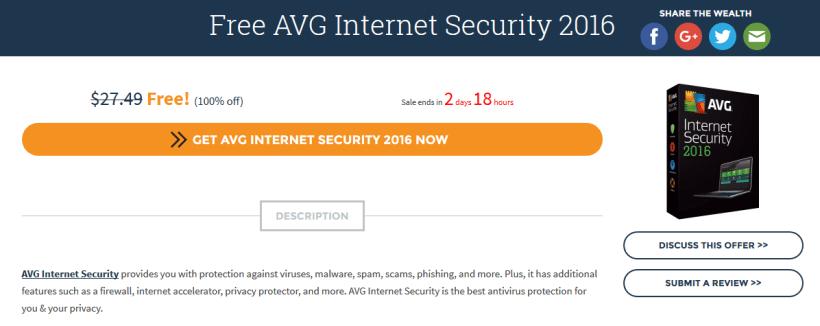 AVG Internet Security 2016 gratis