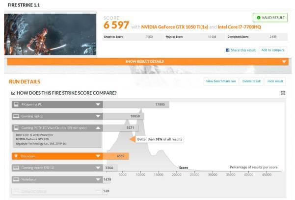 MSI GE72 Apache Pro - FIRE STRIKE