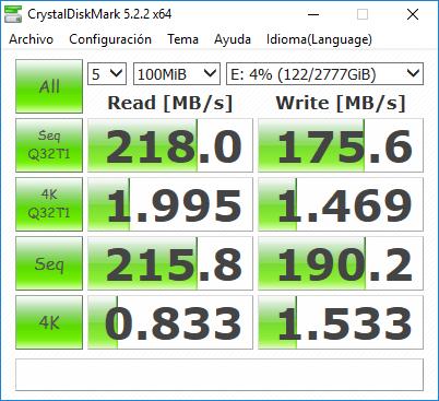 MSI Aegis Ti3 Análisis - CrystalDiskMark HDD