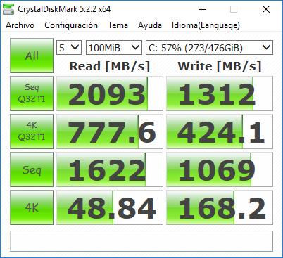 MSI Aegis Ti3 Análisis - CrystalDiskMark SSD