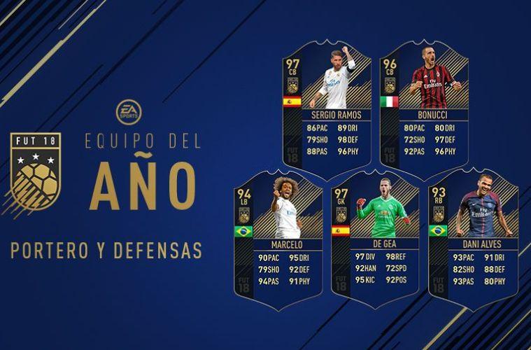 mejores defensas y portero del año en FIFA 18