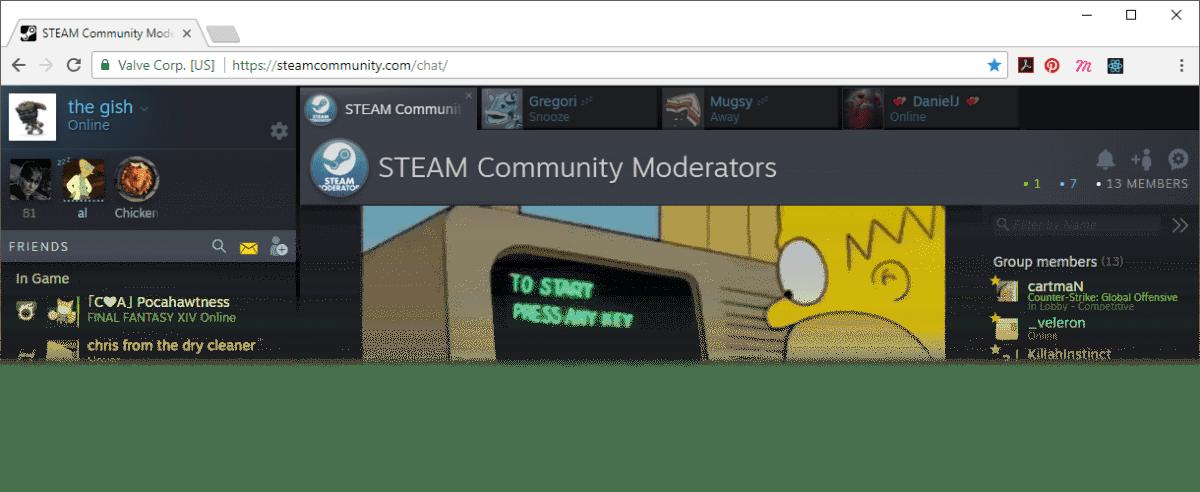 nuevo chat de Steam