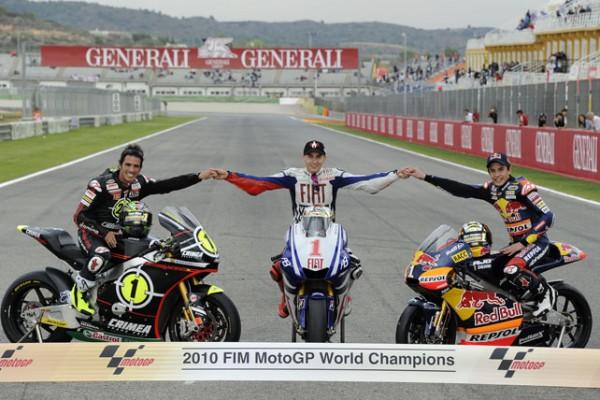 Toni Elías, Jorge Lorenzo y Marc Marquez, Campeones del Mundo