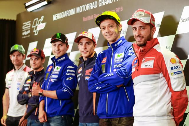 Cal Crutchlow, Dani Pedrosa, Jorge Lorenzo, Marc Márquez, Valentino Rossi y Andrea Dovizioso</strong - Foto: © MotoGp.com
