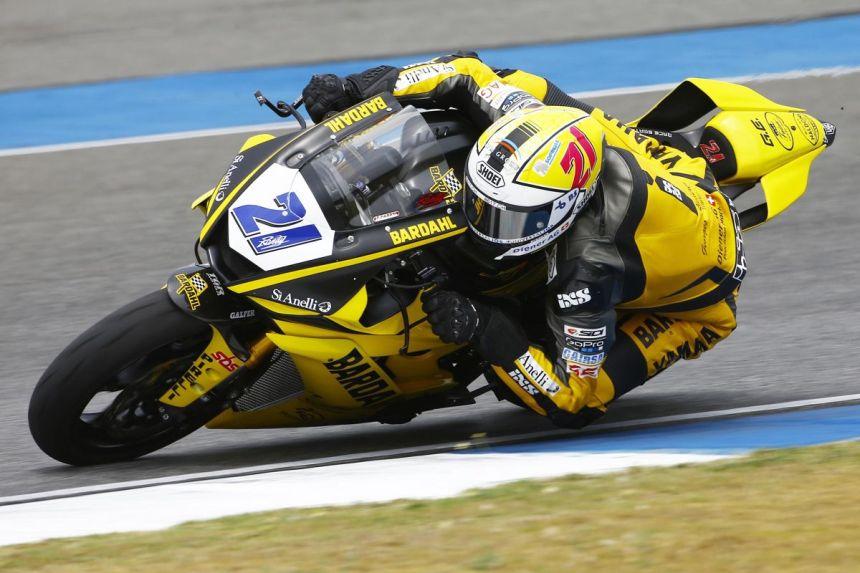 Randy Krummenacher durante la carrera del mundial de Supersport en Tailandia