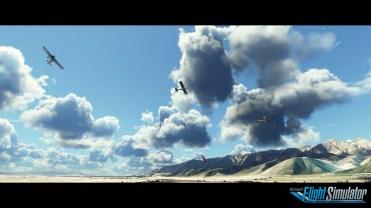 Microsoft Flight Simulator Sky Screenshot with logo