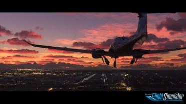 Microsoft Flight Simulator Sunset Screenshot with logo