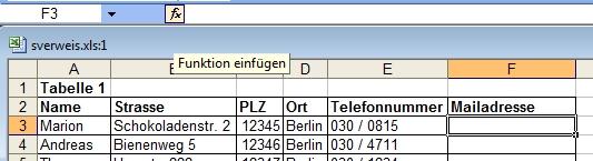 Excel SVerweis Beispiel