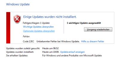 Code 13EC Unbekannter Fehler bei Windows Update