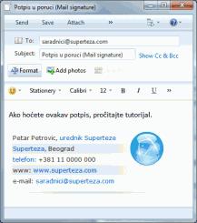 Supertezin potpis u e-mail poruci