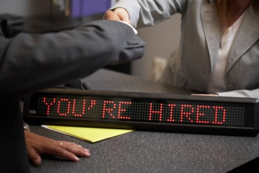 Digital signage reading: You are hired