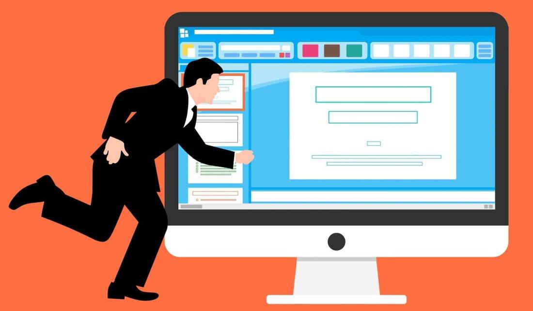 Cartoonish man running by an enlarged cartoon computer monitor displaying presentation software