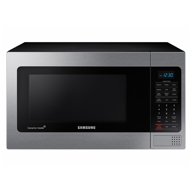 samsung 20 1 1 cu ft countertop microwave with 10 power levels 400 cfm fan sensor cooking control stainless steel