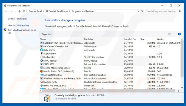 fidonav.com browser hijacker uninstall via Control Panel
