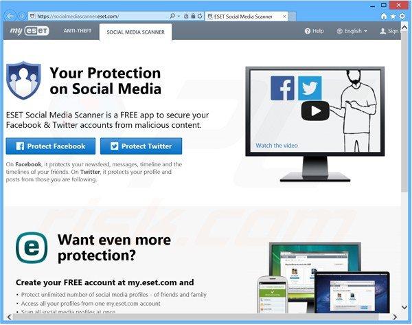 O Social Media Scanner do ESET NOD32 Antivírus 8