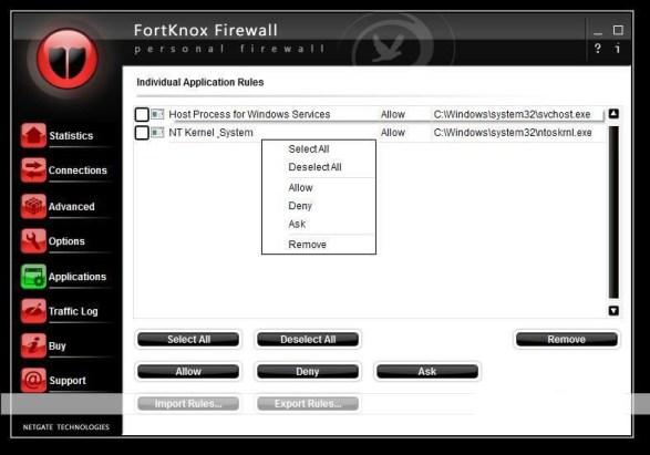 FortKnox Personal Firewall windows