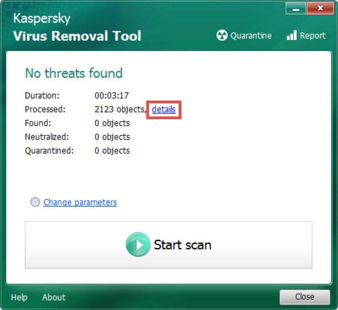 Kaspersky Virus Removal Tool windows