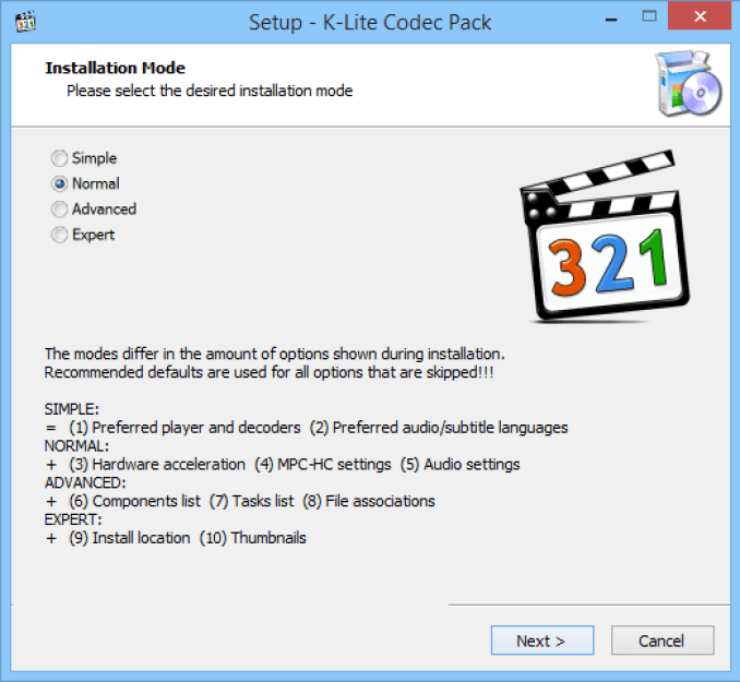 K-Lite Codec Pack windows
